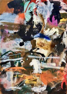 Lars Ahlstrand: Komposition. Akryl på lærred. Sign på bagsiden 97. 115 x 85 cm.