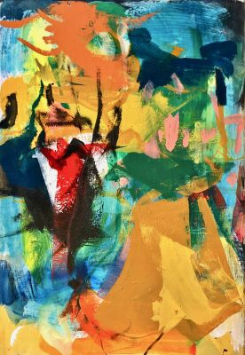 Lars Ahlstrand: Komposition. Akryl på lærred. Sign på bagsiden 99. 115 x 85 cm.