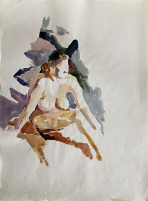 Grethe Bagge: Modelstudie,ca. 1960. Attesteret på bagsiden: Grethe Bagge Collection. Akvarel på papir, 64 x 48 cm. Indrammet.