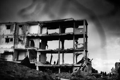 "Signeret UNIKA foto, ""Rafa bombing, Gaza stripe"""