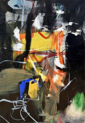 Lars Ahlstrand: Komposition. Akryl på lærred. Sign på bagsiden 99. 113 x 83 cm.