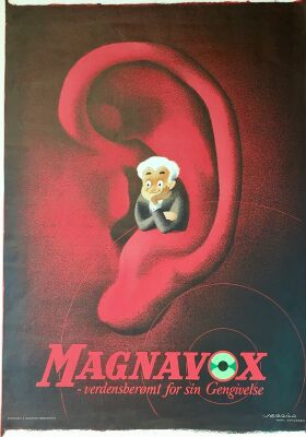 "Asger Jerrild: ""Magnavox"". Org. Litho vintage poster. Sign. 91 x 65 cm. Ca. 1945. Rare."